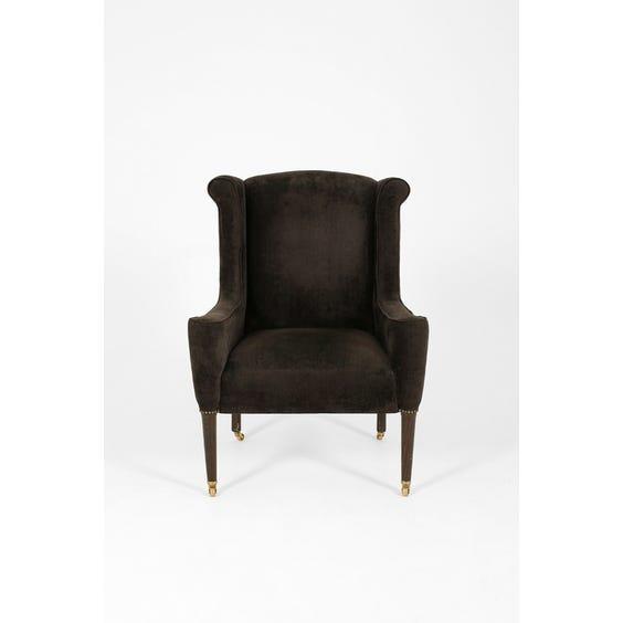 Dark grey Chenille scroll armchair image