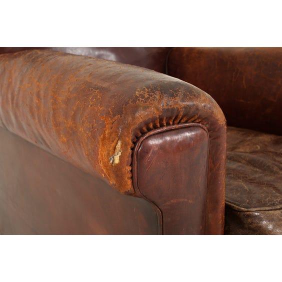 Vintage brown leather armchair image