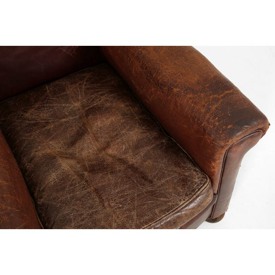 Vintage brown leather armchair image