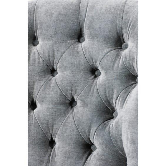 Vintage blue grey velvet armchair image