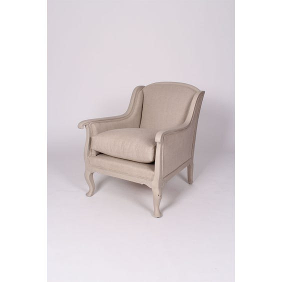 Grey French linen Gustavian armchair image