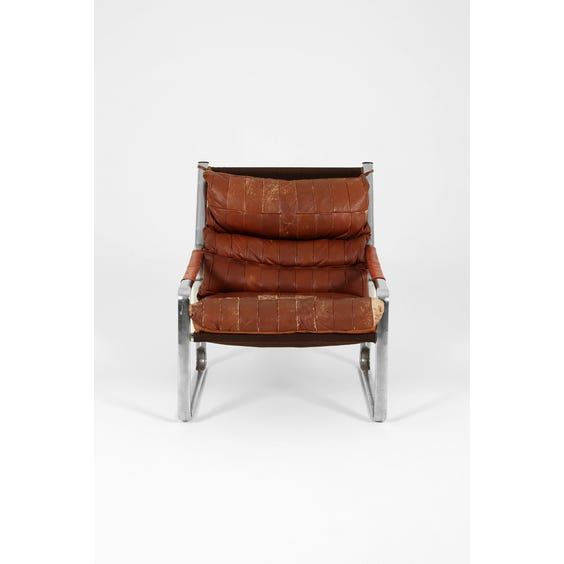 Patchwork brown leather armchair image