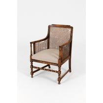 Vintage rattan armchair linen seat