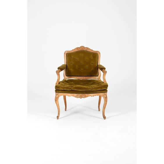 Vintage green carved wood armchair image