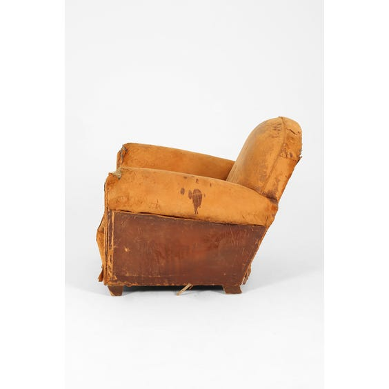 Distressed brown leather club armchair image