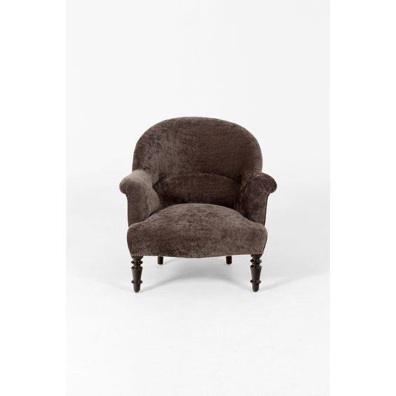 Vintage slate grey velvet armchair image