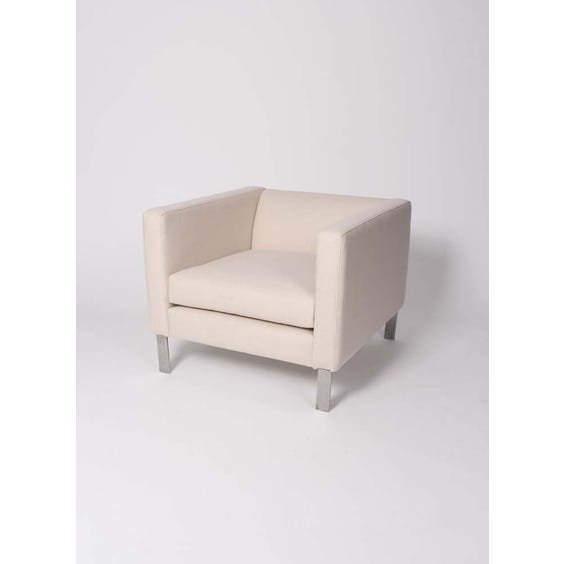 Modern square ivory wool armchair image