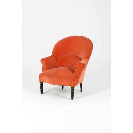 Victorian coral velvet tub chair image