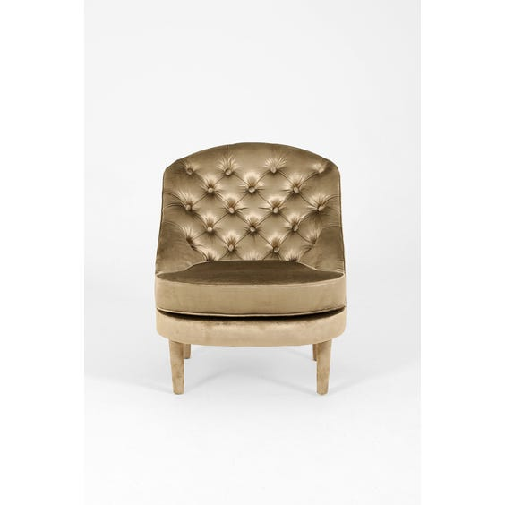 Gold velvet buttoned backed armchair image
