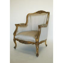 Gold silk gilt frame armchair