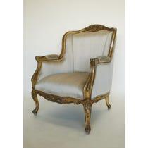 Gold silk gilt frame armchair
