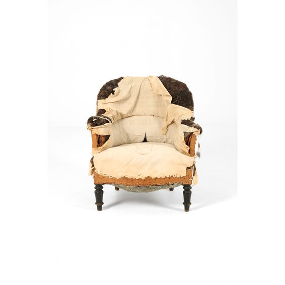 French unupholstered tub armchair image