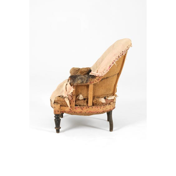 Vintage french pink unupholstered chair image