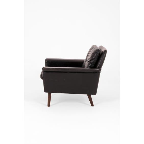 Danish black leather armchair image