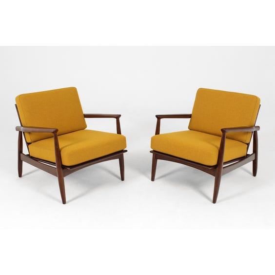 Danish darkwood mustard armchair image
