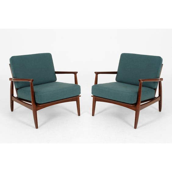 Danish darkwood teal armchair image