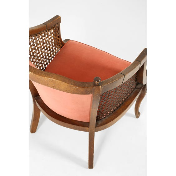 Vintage coral velvet rattan armchair image