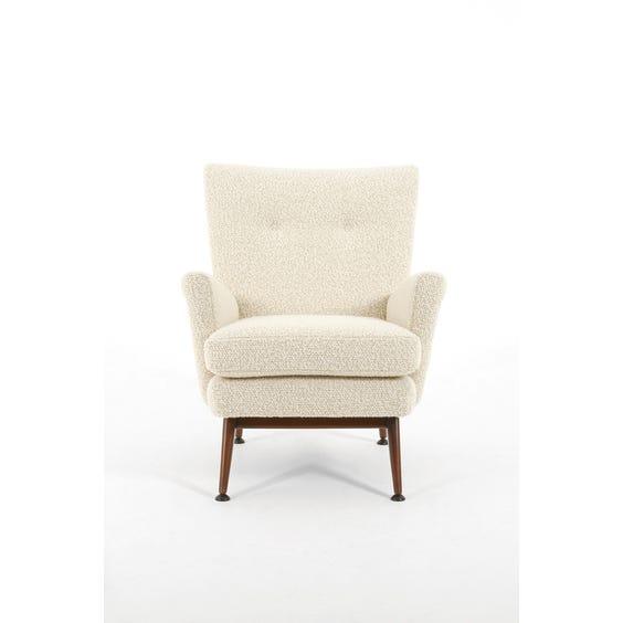 Midcentury ivory bouclé armchair image