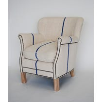 Blue striped cream linen armchair