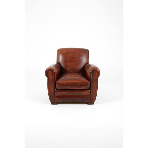 Traditional brown leather armchair image