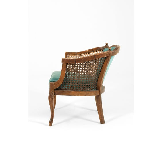 Turquoise velvet rattan armchair image