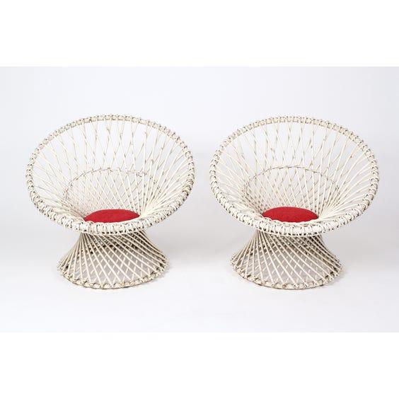 Vintage circular white wicker chair image