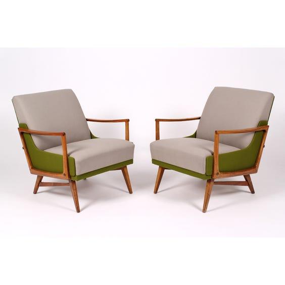 Midcentury grey olive wool armchair image