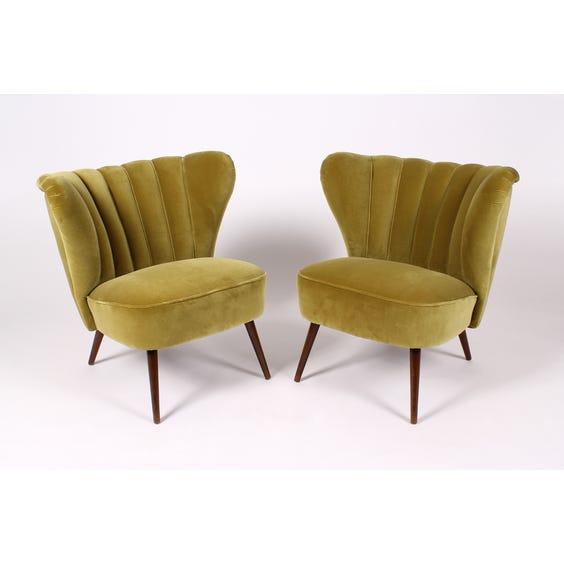 Midcentury olive velvet cocktail chair image