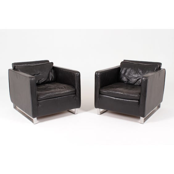 Vintage black age leather armchair image