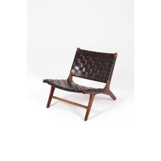 Dark brown leather Gong chair image