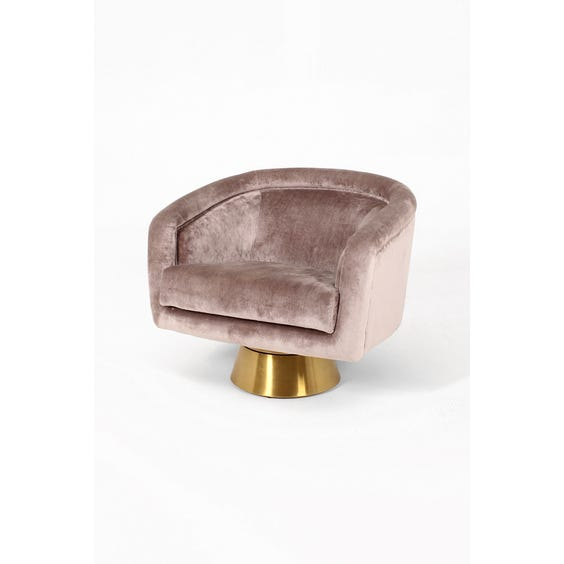 Mushroom velvet tub swivel chair image