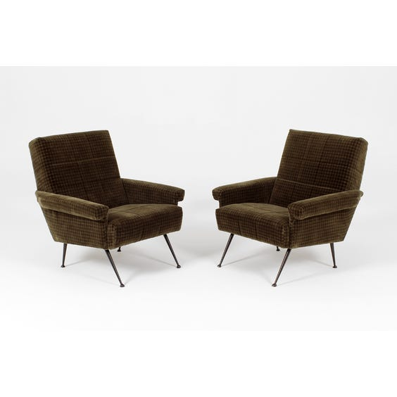 Moss brown chequered velvet armchair image