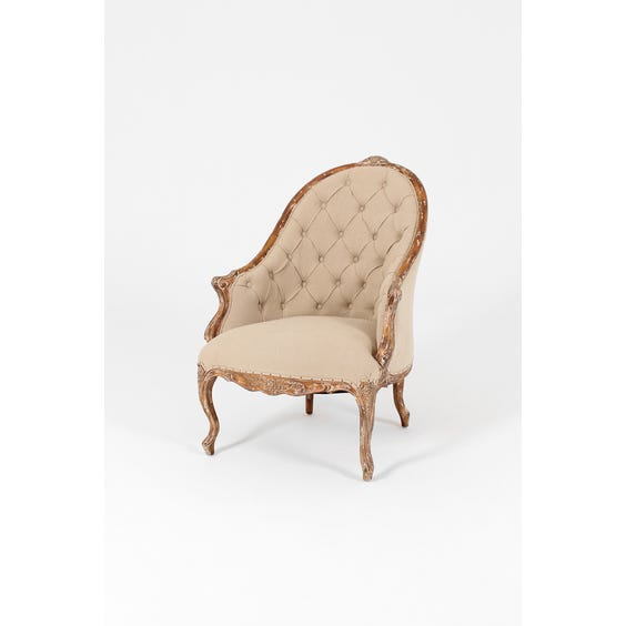 Linen buttoned curved back armchair image