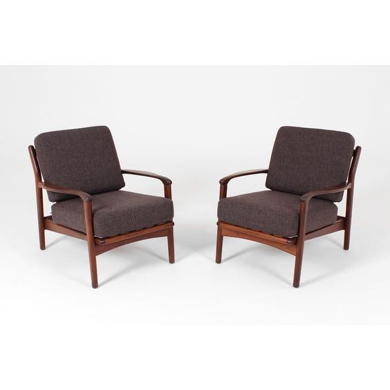 Midcentury teak charcoal cushion armchair image