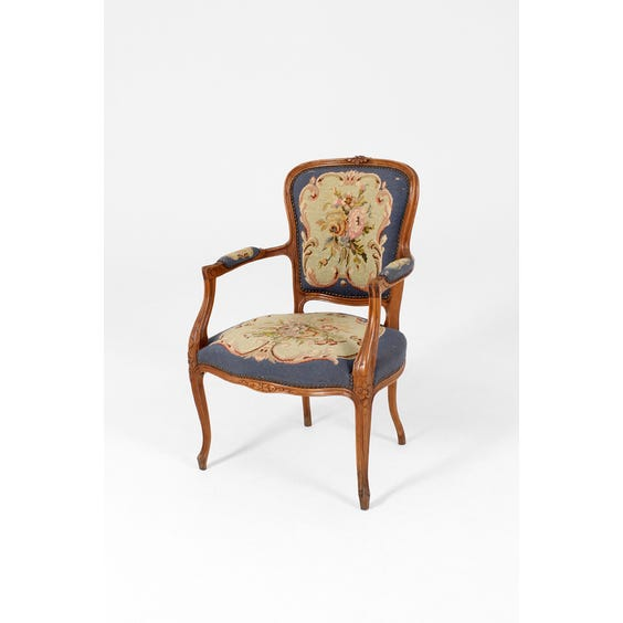 Vintage floral needlepoint armchair image