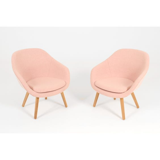 Pink wool curved back armchair image