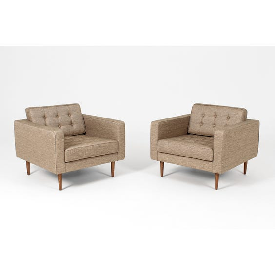 Midcentury pale gold square armchair image