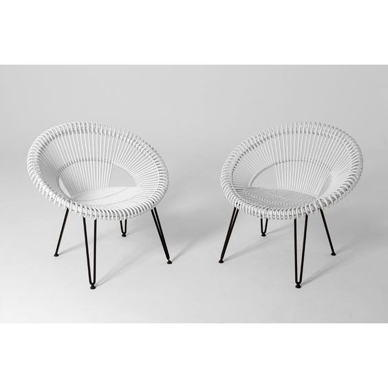 Midcentury white cane Vincent chair image