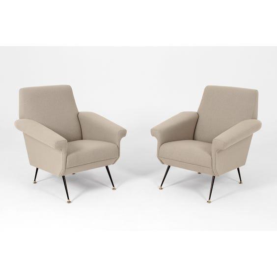 Midcentury grey wool angular armchair image