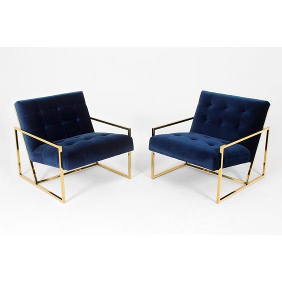 1970s midnight blue velvet armchair image