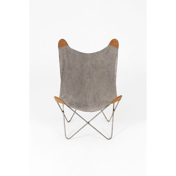 Washed grey canvas butterfly chair image