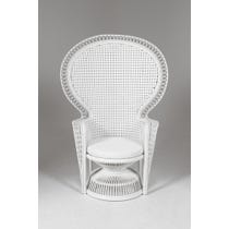 White woven rattan peacock chair