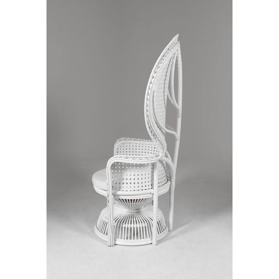 White woven rattan peacock chair image