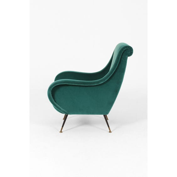 Midcentury teal green velvet armchair image