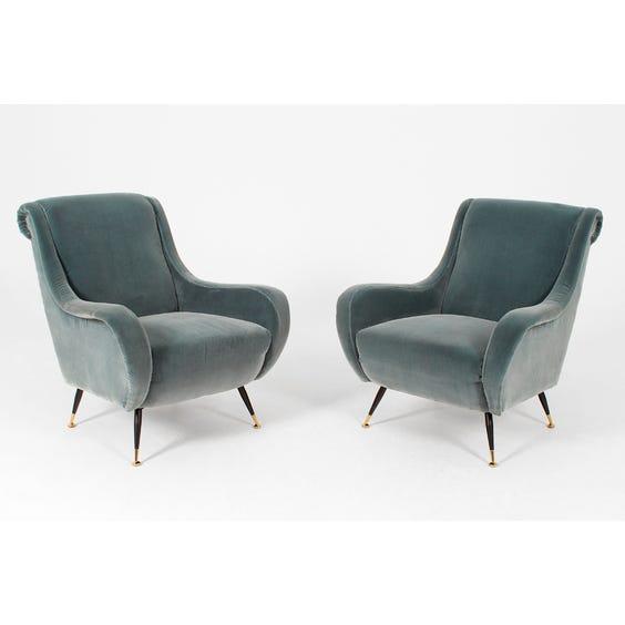 Dusky blue velvet armchair image
