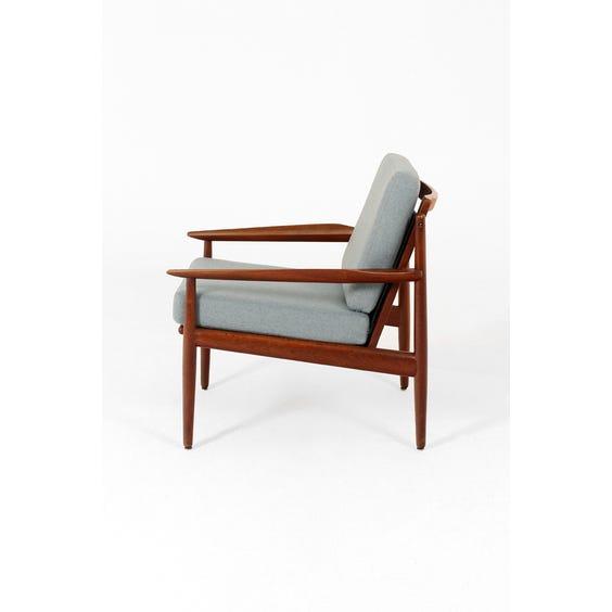 Midcentury teak framed blue armchair image