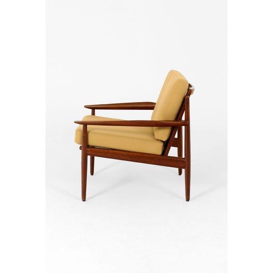 Midcentury teak framed camel armchair image