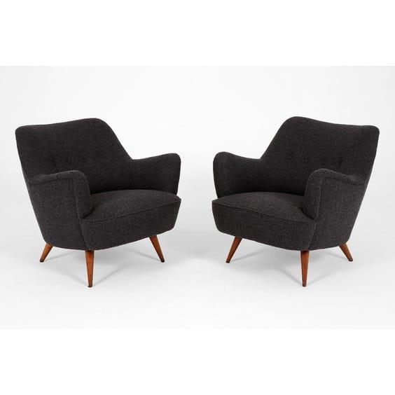 Midcentury charcoal grey wool armchair image