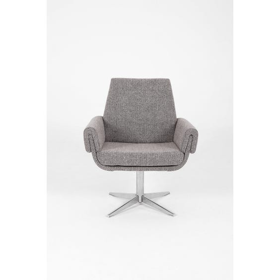 1960s grey white herringbone armchair image