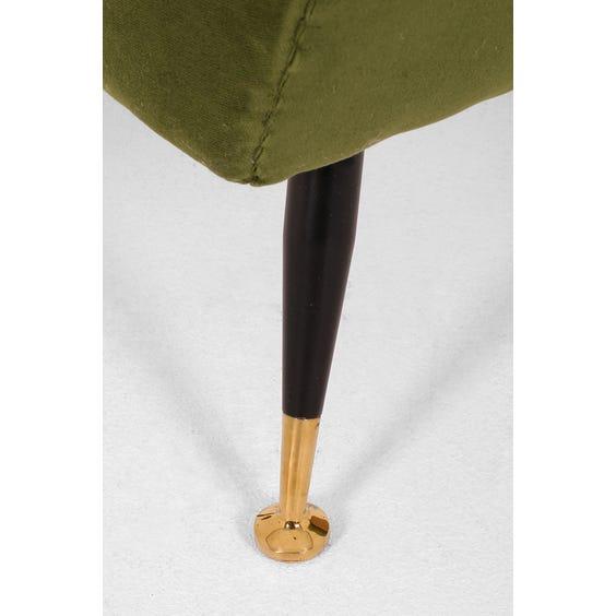 Olive green velvet armchair image